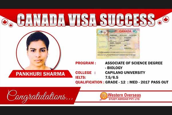 Pankhudi Sharma Canada Visa