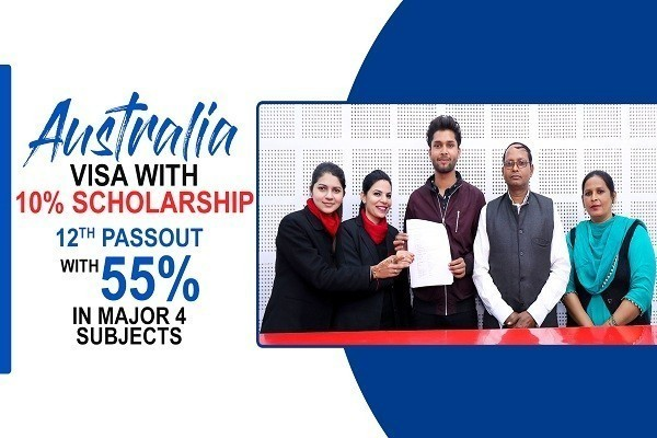 Abhishek Australia Visa 12th Passout with 55 percent in major 4 subjects & 10 percent scholarship
