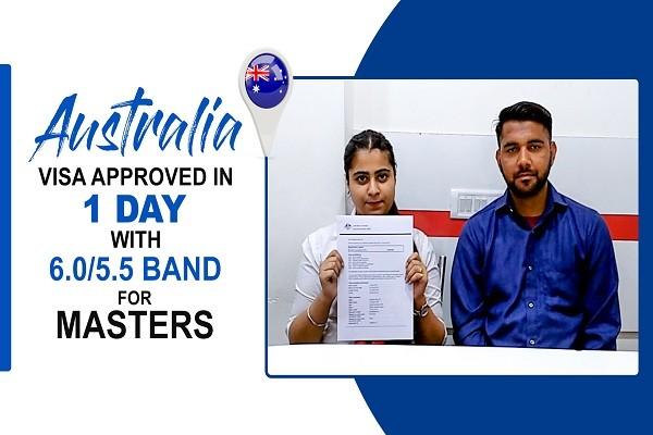 Daljinder Singh Australia visa in 1 Day & 6 ntl 5.5 band for masters Jalandhar Branch