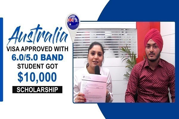 Jaskaran Singh Australia Visa with 6 ntl 5 Band & 10000 Scholarship CHD