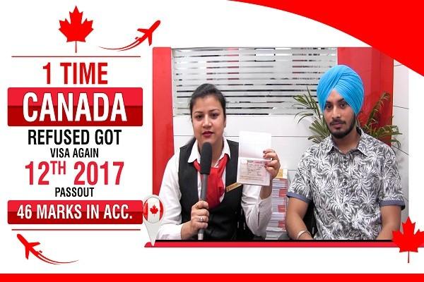 Kunwar Pal Singh Canada Visa 1 time refused 46 in Acc CHD
