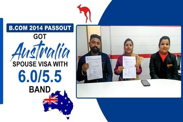 Mandeep Kaur & Tajinder Singh Australia Spouse Visa 2014 Passout Jalandhar Branch