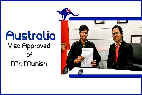 Munish Australia Visa for ATMC University of Sunshine Coast in 13 Days Karnal